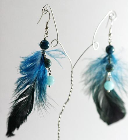 """Boucles d'oreille """"Oiseau de nuit"""" turquoise"""