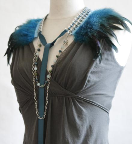 """Collier col """"Oiseau de nuit"""" turquoise"""