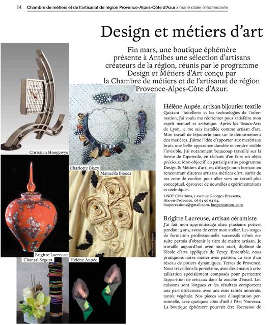 article Design et Métiers d'art