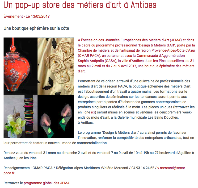 Pop up store métiers d'art, Antibes