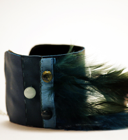 """Manchette """"Oiseau de nuit"""" turquoise"""
